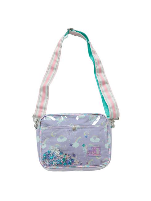 ラベンダーユニコーン柄の通園バッグです。